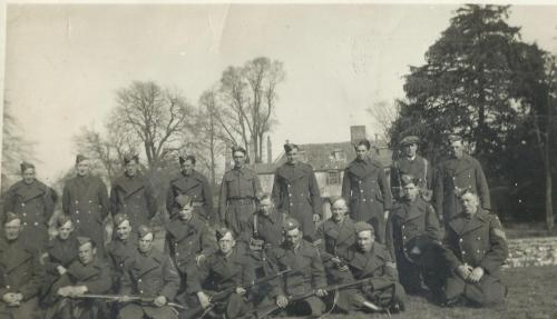jw1 Fincham Home Guard in the Walnut Field behind the Rectory 4th from the left Philip Ward a Lance Corporal at the time