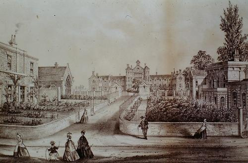 158 London Rd showing the Union Workhouse in the background, the National School on the left, Magistrates court on the right D. Mkt (t.w.mollard)